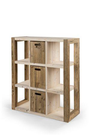 Taaskasutatud puidust keskmise suurusega riiul