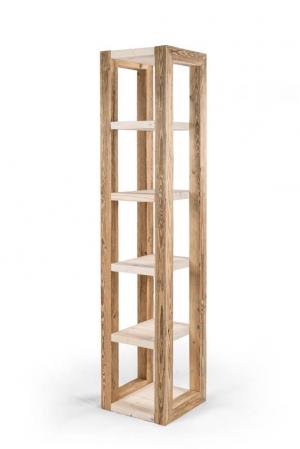 Taaskasutatud puidust riiul viie riiuliboksiga
