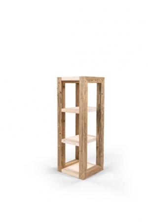 Taaskasutatud puidust riiul kolme riiuliboksiga