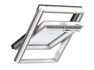 VELUX Premium katuseaken. Polüuretaankattega, valge. Ülalt avatav (käepide üleval). 3-kordse klaaspaketiga.