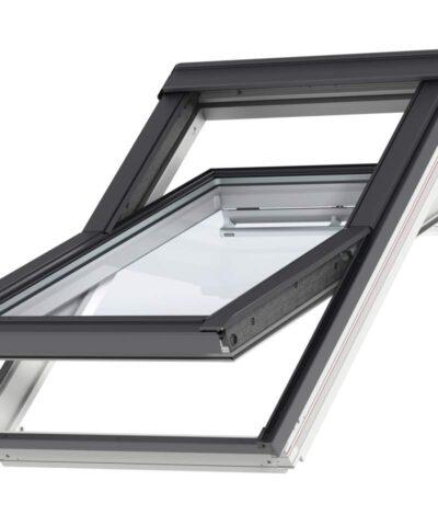 VELUX Premium katuseaken. Polüuretaankattega, valge. Ülalt avatav (käepide üleval). 3-kordse klaaspaketiga. GGU 0066