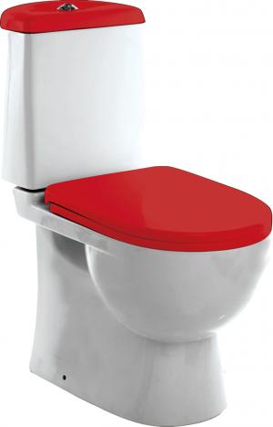 WC pott põrandale - põrandapotid punase kaanega. Vaikselt sulguv.