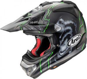 Krossikiiver Arai MX-V Barcia - mattmust ja roheline | Krossivarustus | Motovarustus