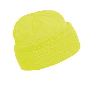 Kõrgnähtav talvemüts Kariban kootud kollane