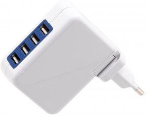 Omega USB laadija 4xUSB EU + kaabel, valge (42672)