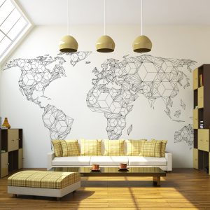 Fototapeet - Map of the World - white solids