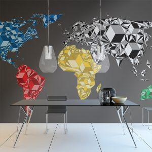 Fototapeet - Map of the World - colorful solids