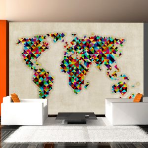 Fototapeet - World Map - a kaleidoscope of colors