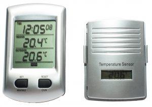 Digitaalne sise-välis juhtmevaba termomeeter kella ja MIN-MAX näiduga hõbedane