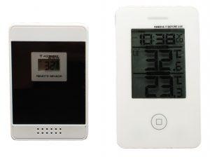 Digitaalne sise-välis juhtmevaba termomeeter kella ja MIN-MAX näiduga valge