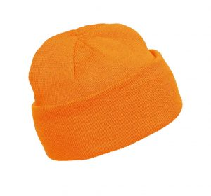 Kõrgnähtav talvemüts Kariban kootud oranz