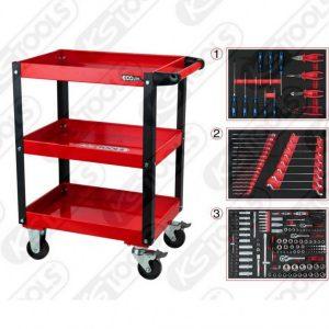 töökäru/laud + 215-osal tööriista kompl